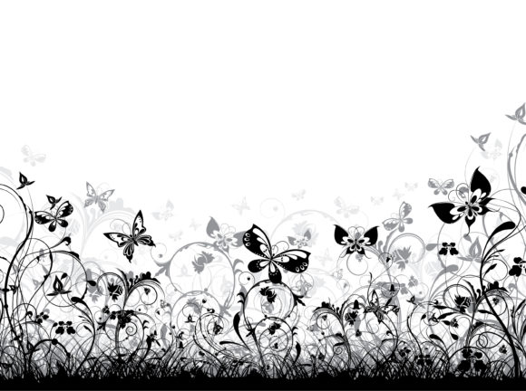 Floral-3 Eps Vector: Eps Vector Floral Background With Butterflies 12 01 2010 96