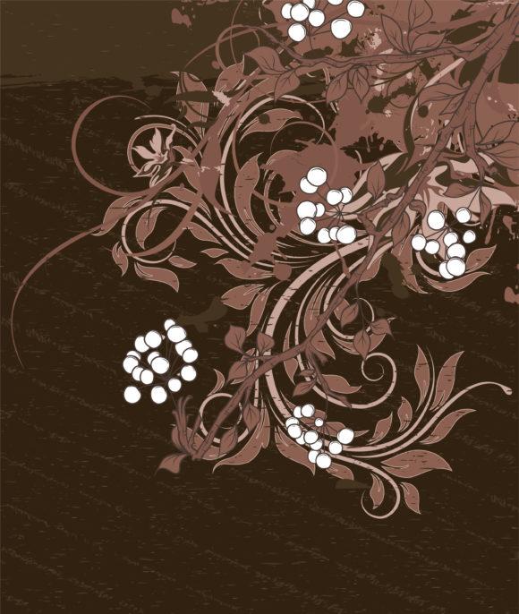 Surprising Illustration Vector Graphic: Grunge Floral Background Vector Graphic Illustration 1