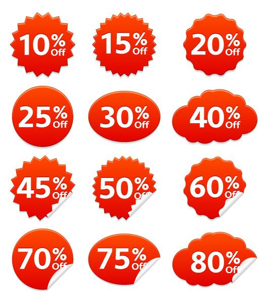 Brilliant Discount Vector Artwork: Vector Artwork Discount Stickers Set 5