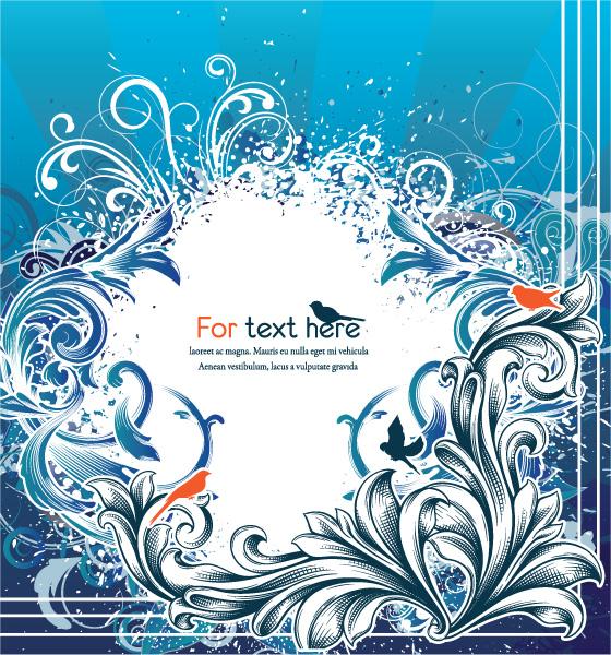 Download Frame Vector Background: Grunge Floral Background Vector Background Illustration 5