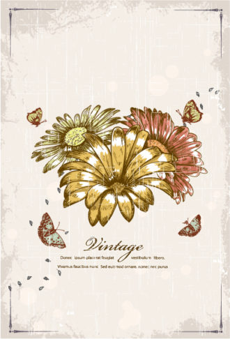 Vector Butterflies With Floral Vector Illustrations old