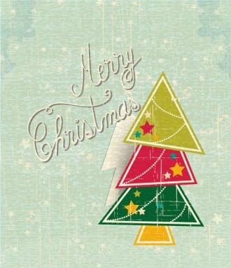 Christmas Vector Illustration With Sticker Christmas Tree Vector Illustrations tree