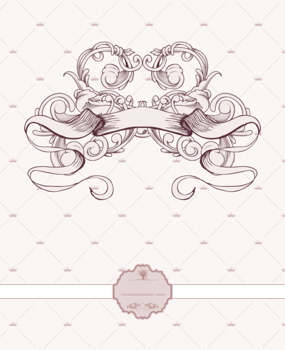 Surprising Label Vector Background: Vector Background Vintage Label With Ribbon And Floral 5