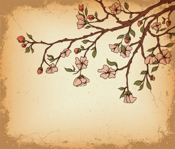 Background Vector: Grunge Floral Background Vector Illustration 5