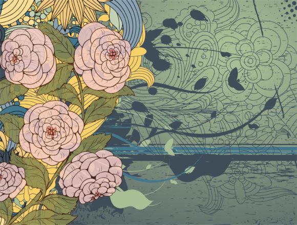Floral, Grungy, Leaf, Background Eps Vector Grunge Floral Background Vector Illustration 12 1 2010 33