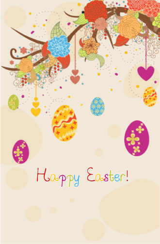 Easter Background With Eggs Vector Illustration Vector Illustrations floral