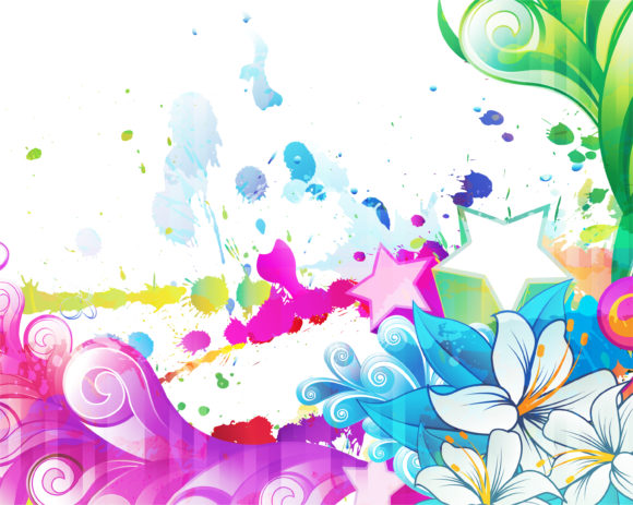 Grunge, Background Vector Design Colorful Grunge Floral Background Vector Illustration 12 22 2010 6