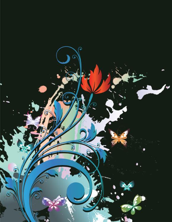 Floral-3 Vector Artwork Grunge Floral Background Vector Illustration 5