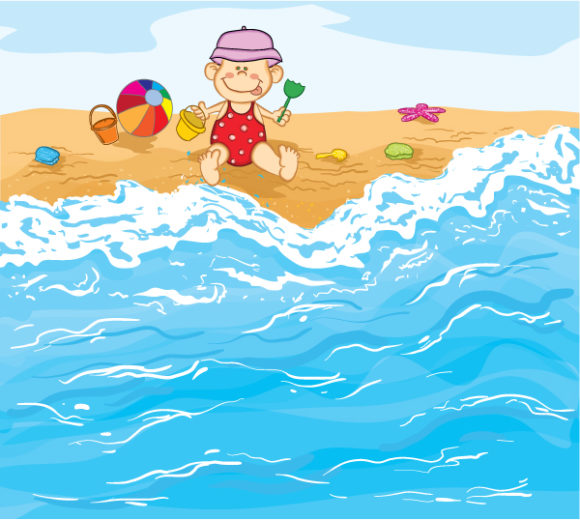 Child, Illustration Vector Illustration Little Baby Boy Playing On The Beach Vector Illustration 12 7 2011 101