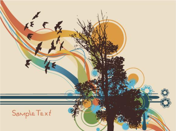 Bold Summer Vector: Tree On Summer Background Vector Illustration 5