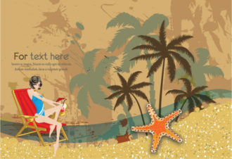 Glossy Girl On Vintage Summer Background Vector Illustration Vector Illustrations palm