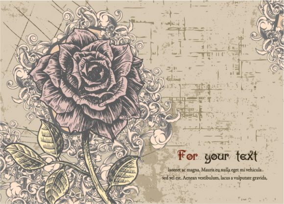 Lovely Flower Vector Graphic: Illustrated Floral Card With Rose Vector Graphic Illustration 12 7 2011 25