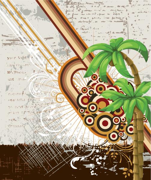 Lovely Illustration Vector: Summer Illustration With Detailed Palm Tree Vector Illustration 1