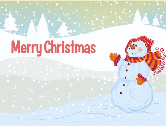 Illustration, Christmas Vector Background Vector Christmas Background With Snowman 5