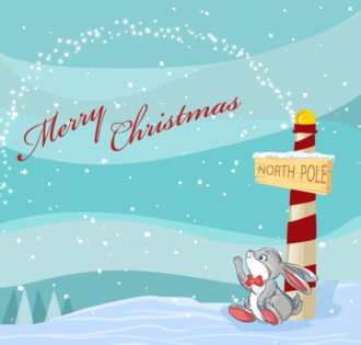 Vector Christmas Background With Bunny Vector Illustrations tree