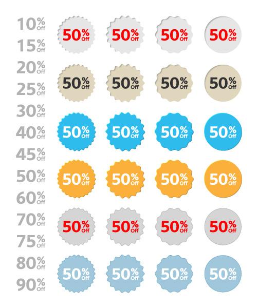 Vector Discount Labels Set Scenes vector