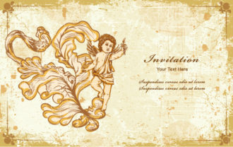 Angel With Floral Vector Illustration Vector Illustrations old
