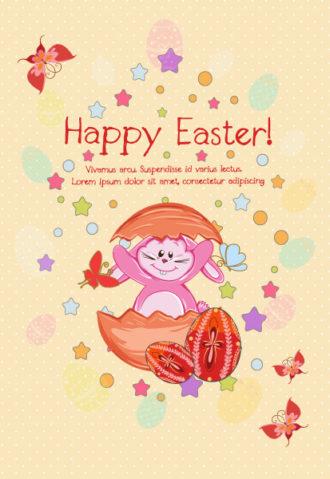 Bunny With Eggs Vector Illustration Vector Illustrations star