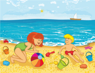 Mother And Kid On The Beach Vector Illustration Vector Illustrations ocean