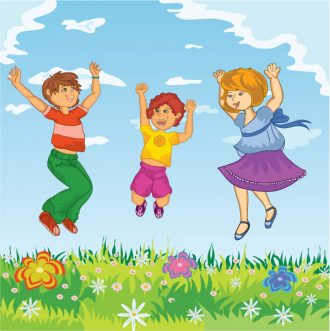 Happy Kids Jumping Vector Illustration Vector Illustrations vector