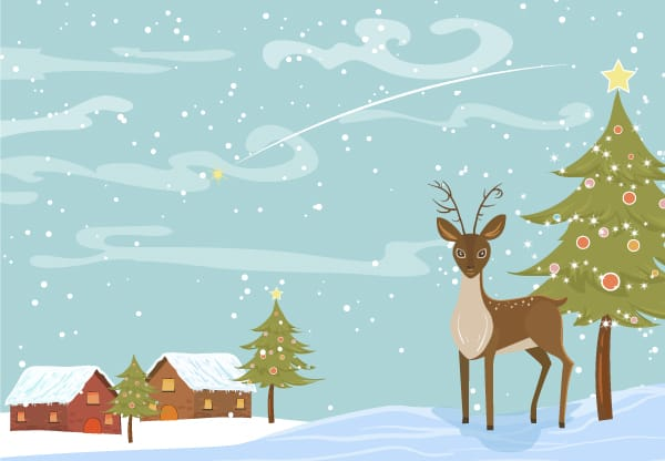 Christmas Background Pic.Vector Christmas Background With Reindeer