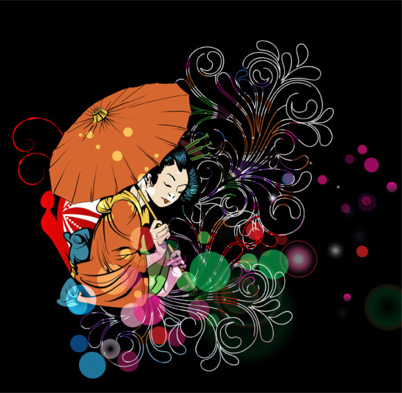 With Eps Vector Vector Colorful Background With Geisha 14 01 2011 51