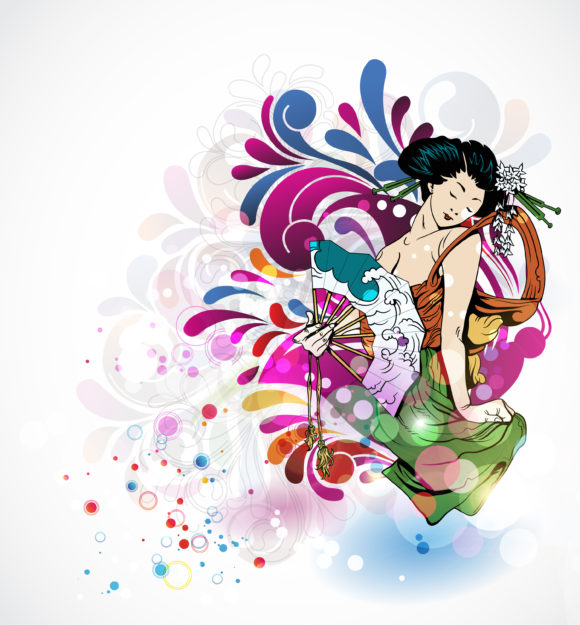 With, Vector, Colorful Vector Design Vector Colorful Background With Geisha 14 01 2011 52