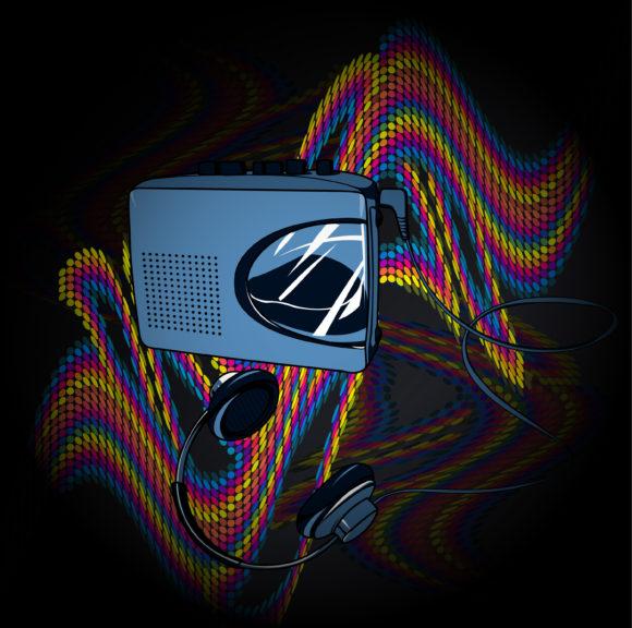 With, Decorationornateabstractsymboldesignillustrationbackgroundartartworkcreativedecorelegantimagevectormusicconcertposterwalkmanretrowavecolorfuldothalftoneheadphones, Vector Vector Graphic Vector Music Background With Walkman 5