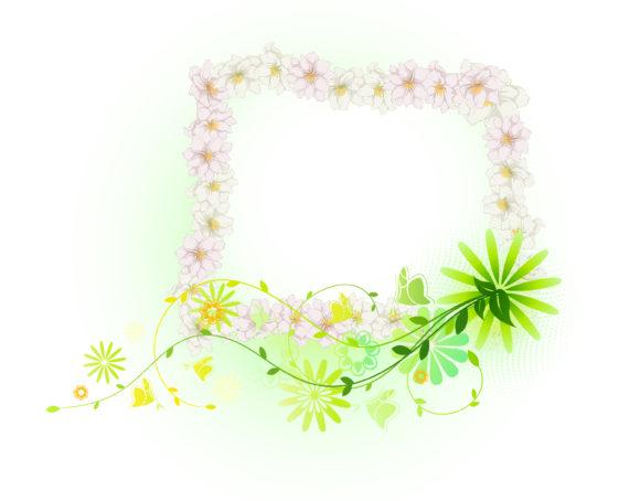 Vector, Frame Vector Background Vector Spring Floral Frame 5
