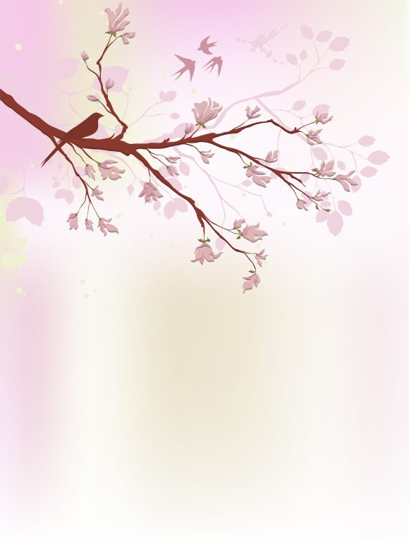 Buy Floral Vector Background: Vector Background Birds With Floral 5