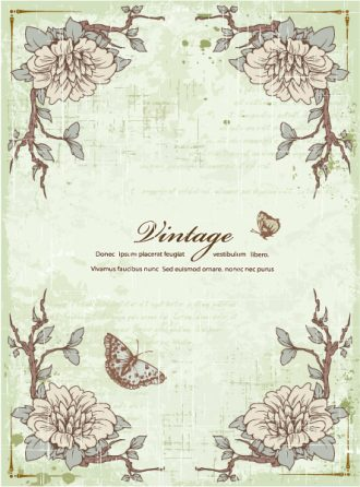 Vector Vintage Frame With Floral Vector Illustrations old