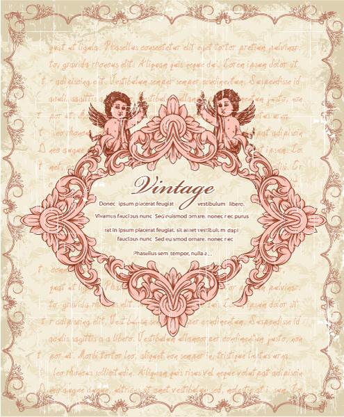 Vector Vintage Frame With Angels 14 12 2011 118