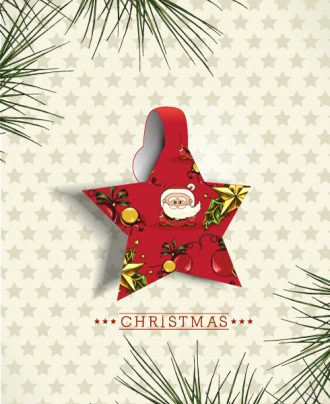 Christmas Vector Illustration With Christmas Star And Fir Branches Vector Illustrations star