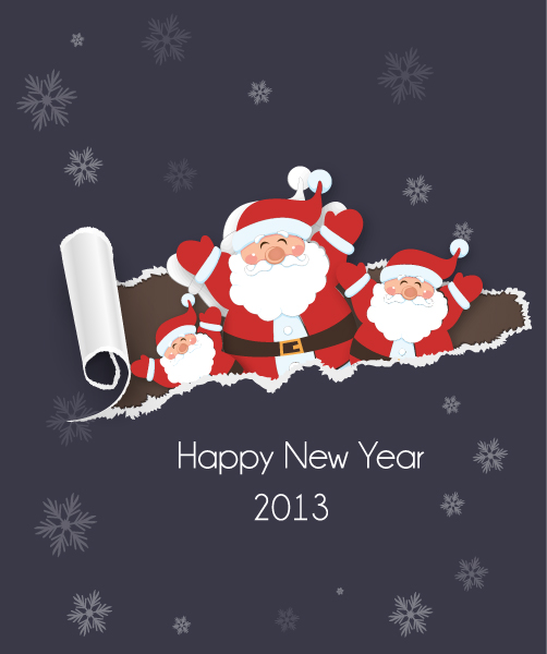 Vector, Illustration, With Vector Art Christmas Vector Illustration With Torn Paper And Sticker Santa 14 12 2012 112