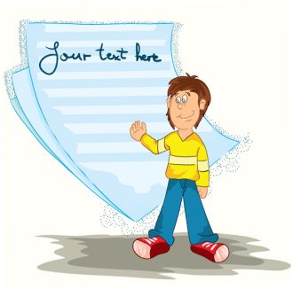 Boy With Note Paper Vector Illustration Vector Illustrations vector