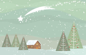 Vector Christmas Background With Trees Vector Illustrations star