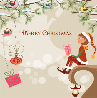 Vector Christmas Background With Elf Vector Illustrations star