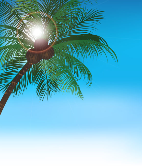 Tree Vector Background: Vector Background Summer Background With Palm Tree 5