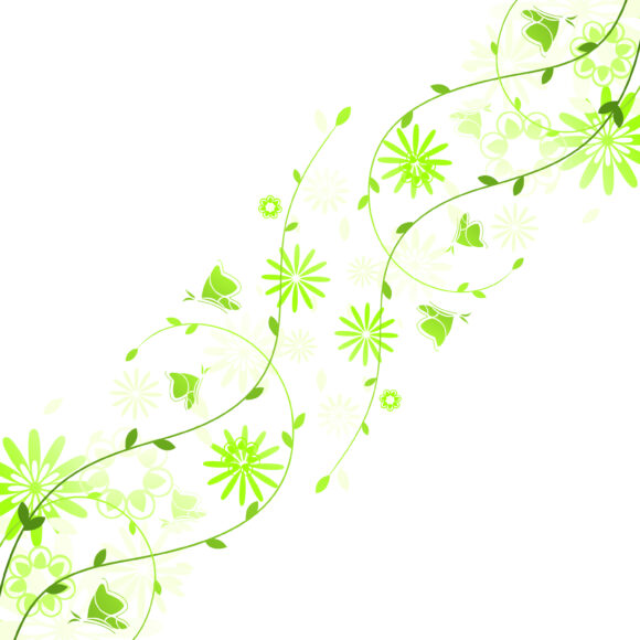 Green, Spring, Vector Vector Art Spring Floral Background With Butterflies Vector Illustration 15 02 2011 65