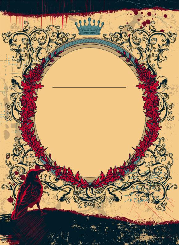 Grunge Floral Frame With Raven Vector Illustration 15 03 2011 57