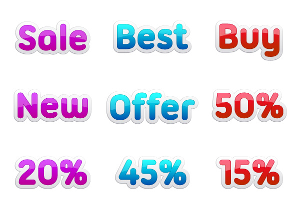 Vector Discount Stickers Set Vector Illustrations vector