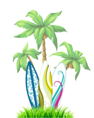 Vector Summer Background With Surf Boards Vector Illustrations palm