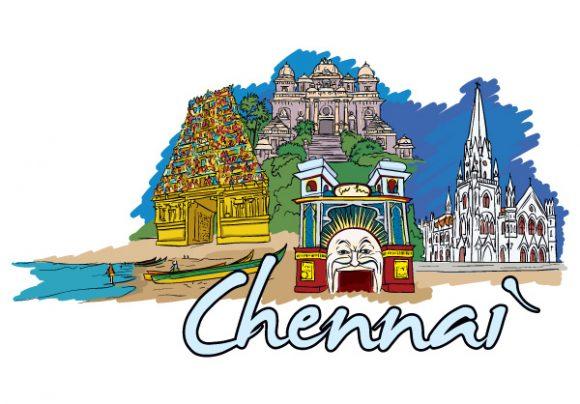 Chennai Doodles Vector Illustration Vector Illustrations sea