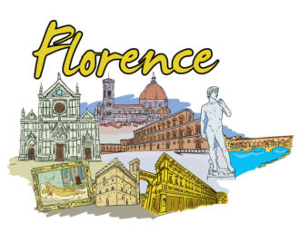 Florence Doodles Vector Illustration Vector Illustrations building