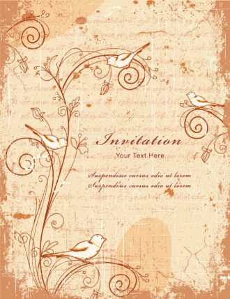 Vintage Background With Birds Vector Illustration Vector Illustrations old