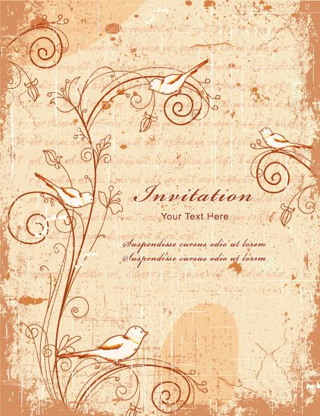 Vintage Background With Birds Vector Illustration 15 12 2011 103