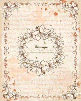 Vintage Frame With Floral Vector Illustration Vector Illustrations old