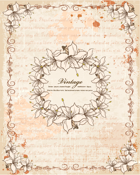 With, Illustration, Floral Vector Graphic Vintage Frame With Floral Vector Illustration 5
