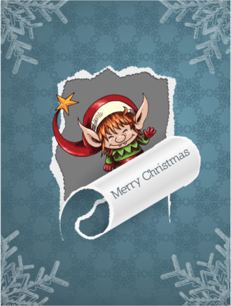 Christmas Vector Illustration With Torn Paper And Elf Vector Illustrations vector