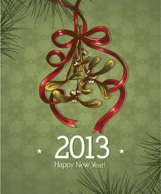 Christmas Vector Illustration With Mistletoe And Bow Vector Illustrations vector